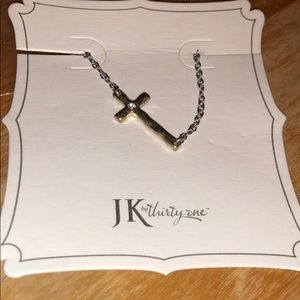 NWT Whisper Cross Necklace two tone
